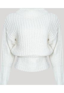Suéter De Tricô Feminino Gola Alta Off White