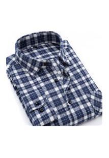 Camisa Xadrez Masculina Slim Fit Alabama - Azul E Cinza