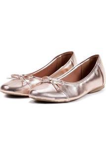 Sapatilha Feminina Metalizada Laço Leve Confortável Casual - Feminino-Rose Gold