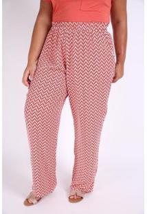 Calça Kaue Plus Size Pantalona Missoni Feminina - Feminino-Vermelho