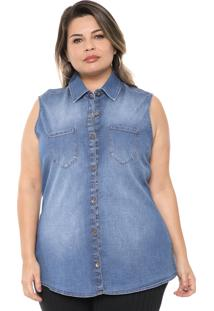 Camisa Jeans Cativa Plus Estonada Azul