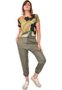 Blusa Modisch Cropped Viscose Floral Decote Costa Feminina - Feminino-Verde