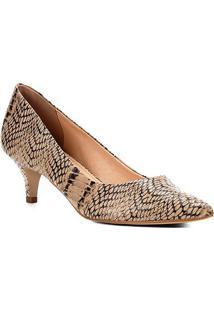 Scarpin Couro Shoestock Salto Baixo Snake
