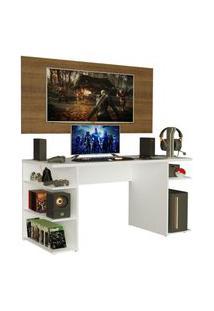 Mesa Gamer Madesa 9409 E Painel Para Tv Até 50 Polegadas - Branco/Rustic Branco