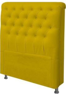 Cabeceira Para Cama Box Solteiro 90 Cm Paris Suede Amarelo - Js Móveis