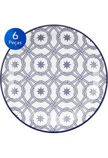 Conjunto De Pratos Rasos 6 Peças Floreal Náutico - Oxford - Branco / Azul