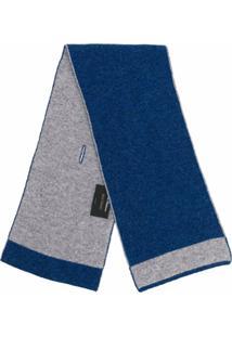 Dell'Oglio Cachecol De Cashmere Com Acabamento Contrastante - Azul