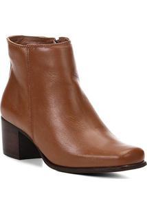 Bota Couro Cano Curto Shoestock Salto Bloco Feminina - Feminino-Caramelo
