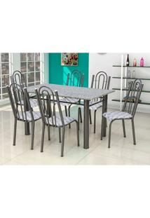 Conjunto De Mesa Luiza Com 6 Cadeiras Craqueado Preto Capitonê