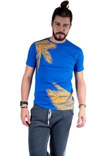 Camiseta Mister Fish Estampado Palmeiras Azul Royal
