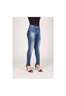 Calça Jeans Lado Avesso Curve Jegging Azul Médio Tam. 44
