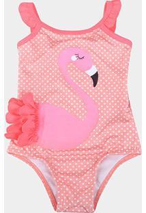 Maiô Boca Grande Sublimado Flamingo Proteção Uv 50+ - Feminino-Rosa