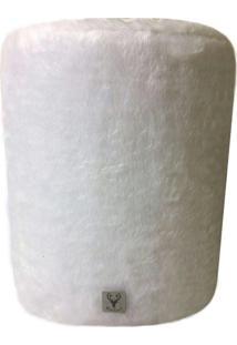 Puff Redondo Alce Couch Pelinho Pelãºcia Branco 45Cm - Branco - Dafiti