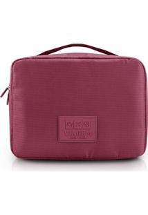 Necessaire De Viagem Jacki Design Quadrada - Unissex-Vermelho Escuro