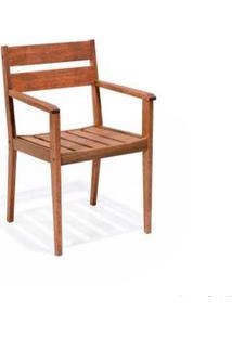 Cadeira De Madeira Fixa Verona Com Braços Stain Jatobá Butzke