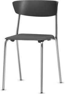 Cadeira Bit Assento Preto Base Cromada - 53672 Sun House
