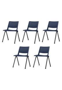 Kit 5 Cadeiras Up Assento Azul Base Fixa Preta - 57804 Azul