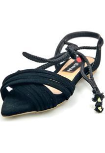 Sandalia Rasteira Love Shoes Bico Folha Amarração Cruzada Preto