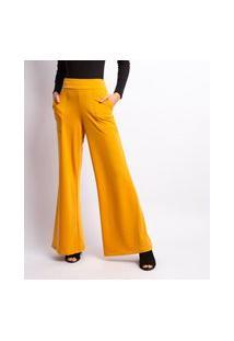 Calça Feminina Pantalona Moletinho Mostarda