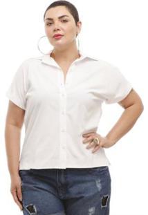 Camisa Melinde Plus Size Branca Ilhós Nas Costas - Feminino-Branco