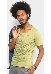 Camiseta Cavalera Onda 1995 Gola Ampla Masculina - Masculino-Verde Militar
