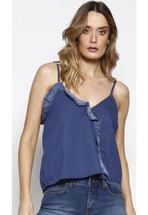 Blusa Jeans Com Babado- Azul Escuro- Sommersommer