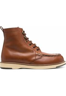 Tod'S Lace-Up Leather Ankle Boots - Marrom