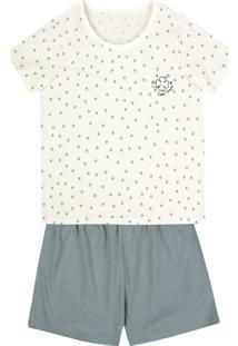 Pijama Feminino Curto Com Bordado