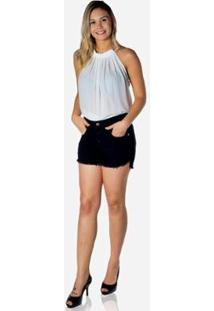 Short Dwz Jeans Lycra Barra Desfiada Feminina - Feminino-Preto