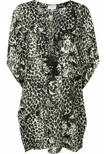 Saint Laurent Vestido Com Animal Print - Preto