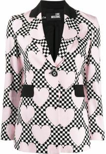Love Moschino Blazer Com Estampa Xadrez E Coração - Rosa