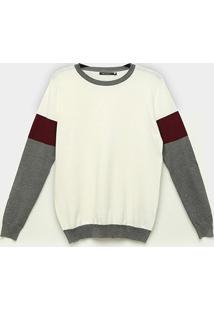 Suéter Miose Listrado Tricolor Feminino - Feminino-Off White