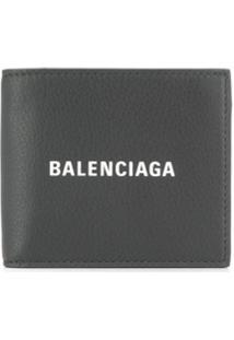 Balenciaga Carteira Everyday Com Logo - Cinza