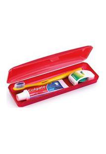 Estojo Porta Escova E Creme Dental Plástico Transparente