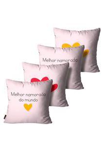 Kit Com 4 Capas Para Almofadas Presente Namorado E Namorada Rosa