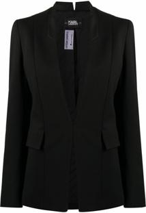 Karl Lagerfeld Blazer Slim Com Lapelas Contrastantes - Preto