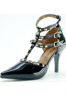 Scarpin Jk Shoes Salto Fino Tiras Em Spikes Preto