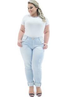 Calça Confidencial Extra Jeans Cigarrete Destroyed Cintura Alta Plus Size Feminina - Feminino-Jeans Claro
