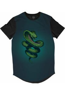 Camiseta Insane 10 Longline Cobra Naja Sublimada Preto Azul