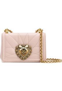 Dolce & Gabbana Bolsa Mini Com Logo Devotion - Rosa