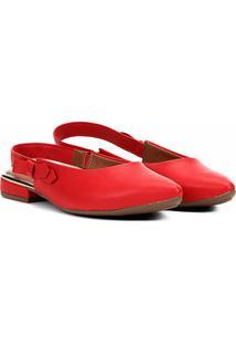 Sapatilha Mississipi Chanel Bico Fino Laço Feminina - Feminino-Vermelho