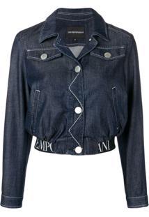 Emporio Armani Jaqueta Jeans Cropped - Azul