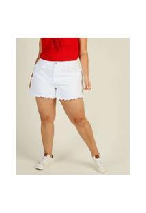 Short Plus Size Feminino Jeans Cintura Alta Bolsos