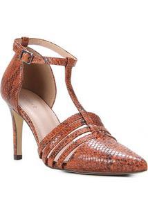 Scarpin Couro Shoestock Cobra Feeling Salto Alto - Feminino