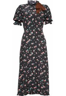 Miu Miu Vestido Com Estampa De Rosas - Preto