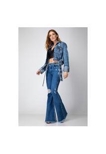Calça Flare Destroyed Com Cinto Lança Perfume Jeans Azul