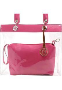 Bolsa Birô Shopper Cristal Feminina - Feminino-Pink