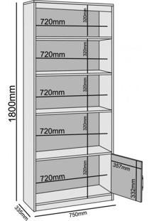 Estante Livreiro Multiuso 2 Portas 3 Prateleira Madri Benetil Móveis