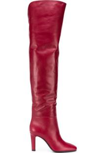 Saint Laurent Bota Over-The-Knee Jane - Vermelho