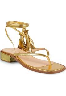 Sandália Rasteira Dourada